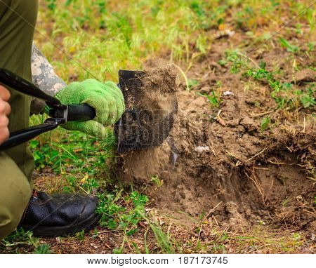 A person digs a hole in the nature of a very compact and comfortable metal shovel the earth disperses from the movement