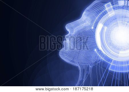 Human/robot with digital lilac brain. Robotics concept. 3D Rendering