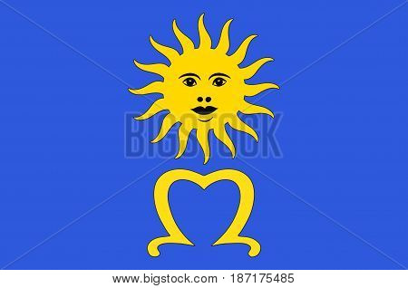 Flag of Mende is a commune and prefecture of the department of Lozere and of the region of Occitanie in southern France. Vector illustration