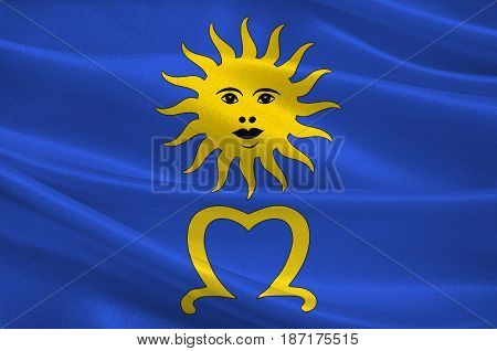 Flag of Mende is a commune and prefecture of the department of Lozere and of the region of Occitanie in southern France. 3d illustration