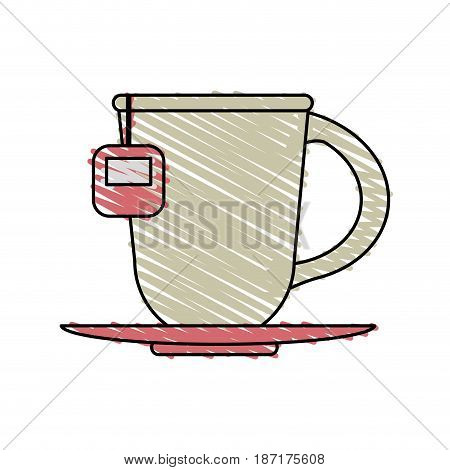 color crayon stripe cartoon porcelain cup of tea with steam on dish crockery vector illustration