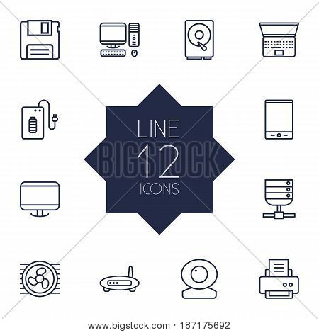 Set Of 12 Laptop Outline Icons Set.Collection Of Tablet, Cooler, Floppy And Other Elements.
