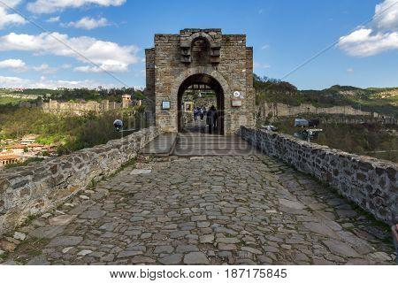 VELIKO TARNOVO, BULGARIA - 9 APRIL 2017: Ruins of The capital city of the Second Bulgarian Empire medieval stronghold Tsarevets, Veliko Tarnovo, Bulgaria