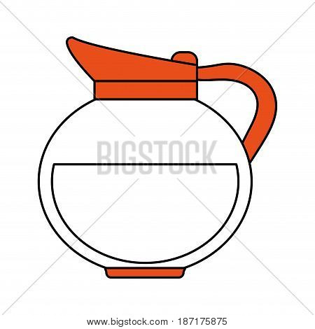 color silhouette image cartoon rounded glass jar of coffee with handle and coffee vector illustration