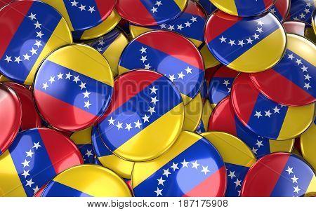 Venezuela Badges Background - Pile Of Venezuelan Flag Buttons.