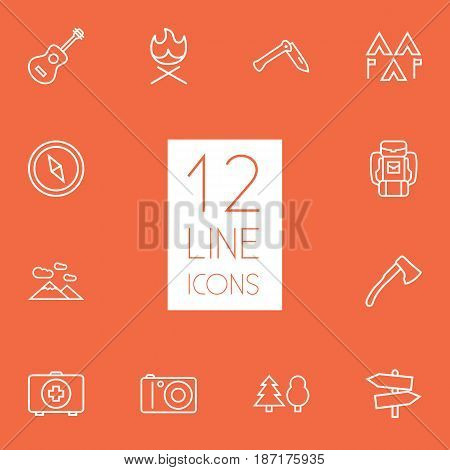 Set Of 12 Picnic Outline Icons Set.Collection Of Baggage, Guidepost, Bonfire And Other Elements.