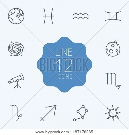 Set Of 12 Horoscope Outline Icons Set.Collection Of Sun, Sagittarius, Capricorn And Other Elements.