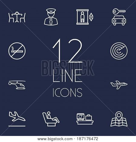 Set Of 12 Airplane Outline Icons Set.Collection Of Business Class, Plane, Luggage Check And Other Elements.