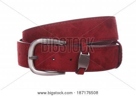 Red leather belt on white background isolation