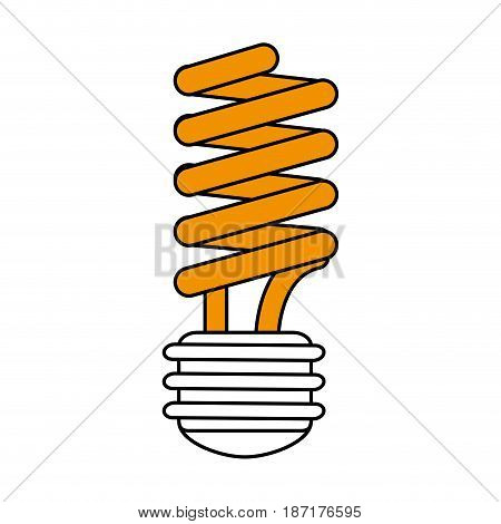 color silhouette image cartoon yellow fluorescent light bulb vector illustration