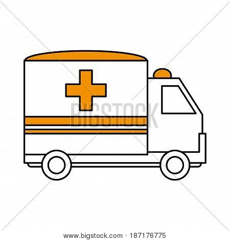 color silhouette image cartoon ambulance truck with cross symbol vector illustration