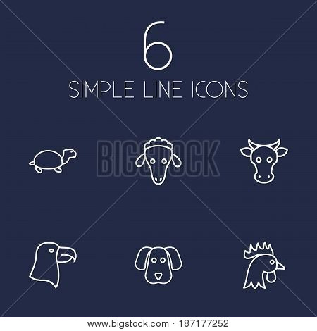 Set Of 6 Brute Outline Icons Set.Collection Of Turtle, Cow, Cock And Other Elements.