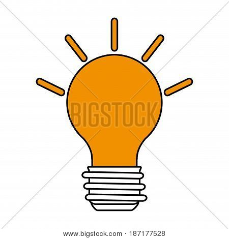 color silhouette image cartoon light bulb with brigntness rays vector illustration