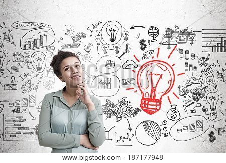African American woman wearing a green shirt is dreaming about her business future. Light bulb to the right of her