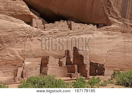 Ancient Cliff Dwellings in the Rocks in Canyon de Chelly National Monument in Arizona