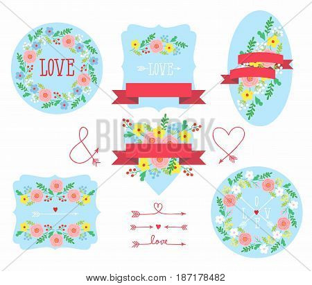Set of elements for design - arrows, hearts, love, circlet of flowers. Vector