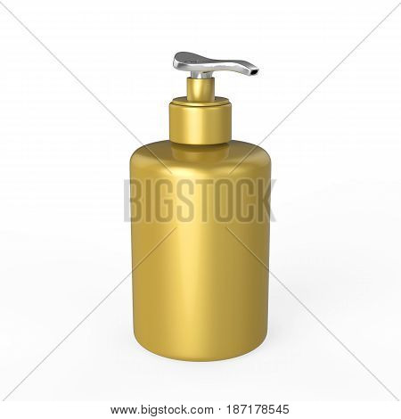 3D illustration gold bottle with liquid soap on a white background