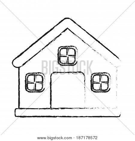 blurred silhouette image cartoon facade comfortable house with chimney vector illustration