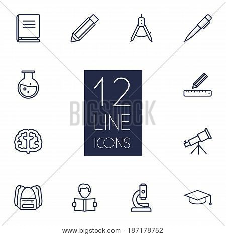 Set Of 12 Science Outline Icons Set.Collection Of Telescope, Pencil, Backpack And Other Elements.