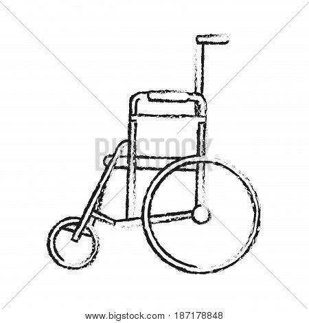 blurred silhouette image cartoon wheel chair medical vector illustration