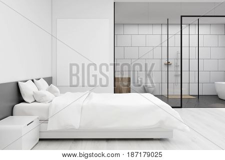 Bedroom With White Bathroom, Close Up