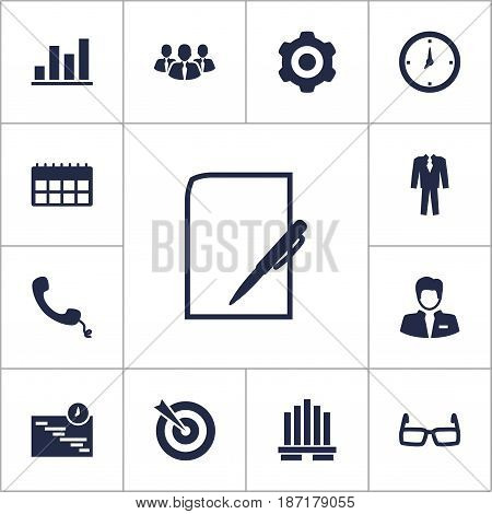 Set Of 13 Enterprise Icons Set.Collection Of Goal, Graph, Time And Other Elements.