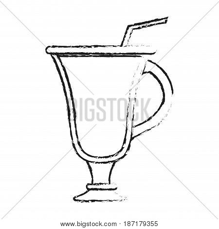 blurred silhouette image cartoon glass cup of cappucino with straw vector illustration