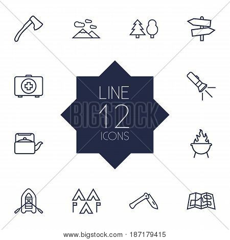 Set Of 12 Adventure Outline Icons Set.Collection Of Penknife, Mountains, Medical Kit And Other Elements.