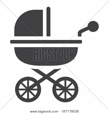 Baby bib solid icon, pram and pushchair, vector graphics, a filled pattern on a white background, eps 10.