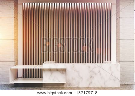 White marble reception counter of an original construction is standing near a wall with gray vertical blinds. 3d rendering toned image