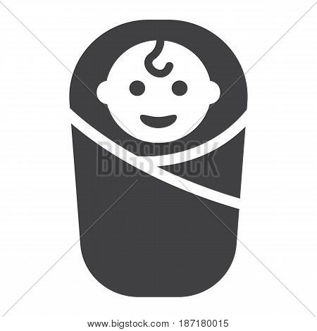 Baby birth solid icon, kid and newborn, vector graphics, a filled pattern on a white background, eps 10.