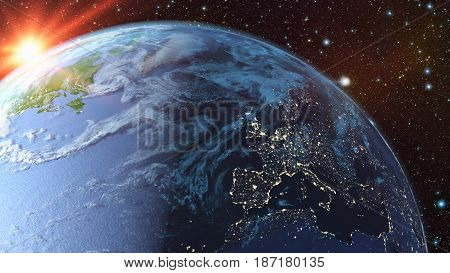 A view of the earth from space. 3d rendering.Elements of this image are furnished by NASA.