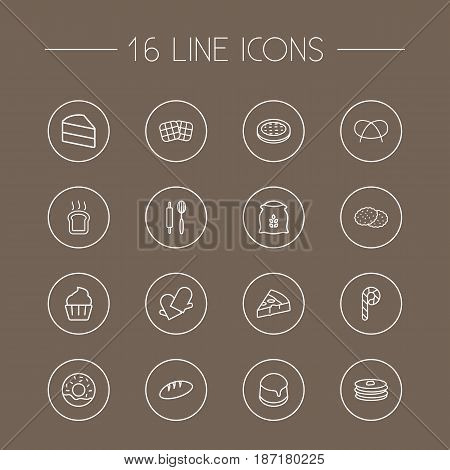Set Of 16  Outline Icons Set.Collection Of Cake, Cookie, Bread And Other Elements.