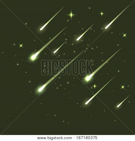 Vector star meteor falling in dark. Comet or asteroid science background. Galaxy astronomy background illustration.