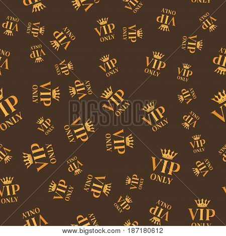 Golden seamless vip only sign background. Vip pattern card design. Luxury member illustration.