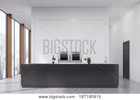 Front view of a modern kitchen interior with a black bar stand and two ovens built in a blank white wall. 3d rendering mock up
