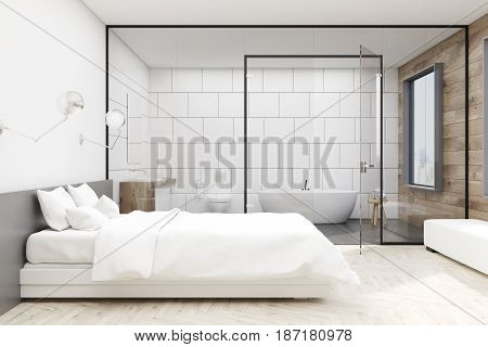 Bedroom interior with a large double bed and a bathroom with glass and white wall. 3d rendering mock up