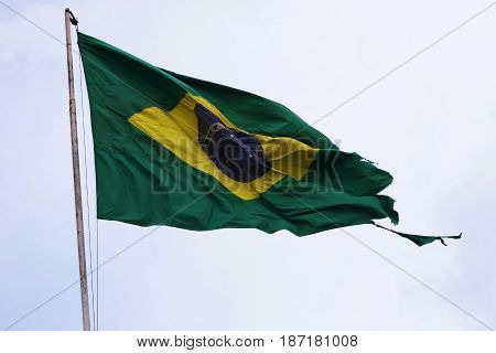 Brazil's flag windflying tattered patriotism concepts national