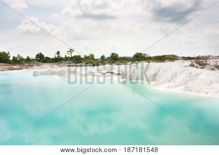 Man-made Artificial Lake Kaolin, Turned From Mining Ground Holes Filled With Rain Water Forming A Cl