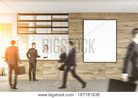 Business people walking in an office hall past a reception desk with a blond receptionist. 3d rendering toned image mock up