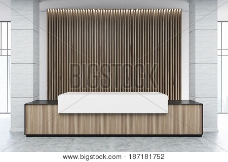 Wooden and white reception counter of an original construction is standing near a wall with wooden vertical blinds. 3d rendering