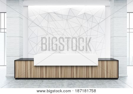 Wooden and white reception counter of an original construction is standing near a white wall with a geometric pattern on it. 3d rendering