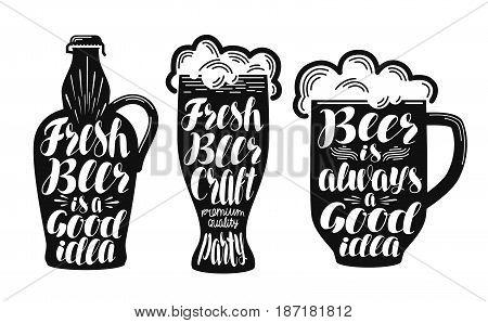 Beer, ale label set. Collection decorative elements for menu restaurant or pub, bar