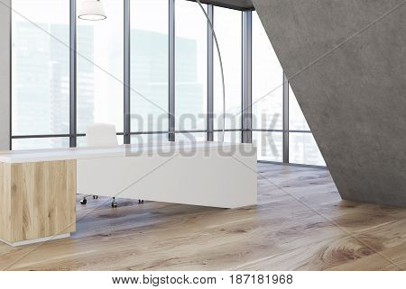 Side view of a CEO office interior with a white wooden table a chair a panoramic window and a gray triangular decoration element. 3d rendering mock up