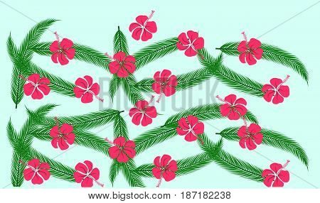 Floral pattern with green palm leaves and red hibiscus flowers on blue background stock vector illustration