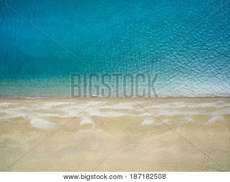 Aerial photograph of the beach and the blue sea