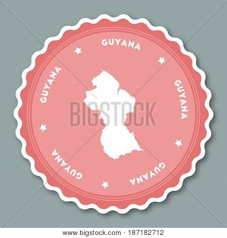 Guyana Sticker Flat Design. Round Flat Style Badges Of Trendy Colors With Country Map And Name. Coun
