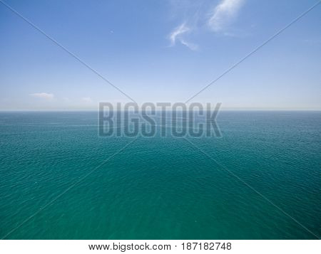 aerial view over the mediterranean on sunny day