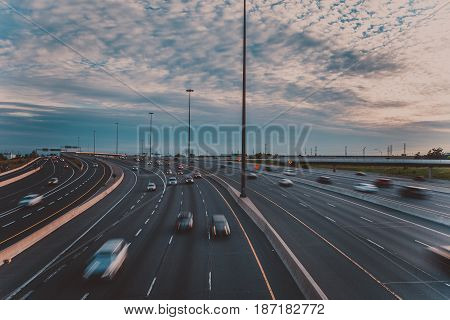 Major highway in the early evening in Toronto Canada