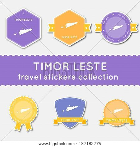 Timor-leste Travel Stickers Collection. Big Set Of Stickers With Us State Map And Name. Flat Materia